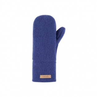 Wool fleece mittens, blue