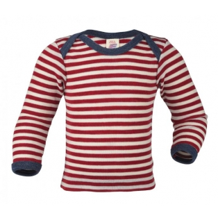 Children's vest long sleeved, red/natural