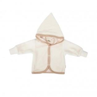 Baby velour jacket with hoodie, white