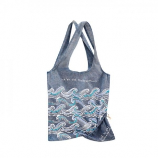 Foldable shopping bag with waves, blue