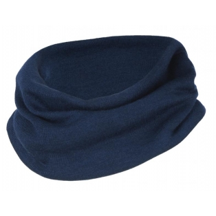 Children's merino wool-silk loop scarf, navy-blue