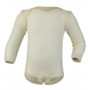 Upon order: Baby wool envelope-neck body long sleeved, natural
