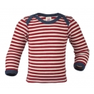 Upon order: Baby wool envelope-neck vest long sleeved, red-natural