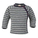 Upon order: Baby wool sweater with press studs on the side, lightgrey melange-navy blue