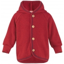 Upon order: Baby hooded jacket with wooden buttons, red melange