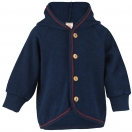 Upon order: Baby hooded jacket with wooden buttons, navy blue