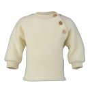 Upon order: Baby wool raglan sweater with wooden buttons, natural