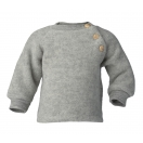 Upon order: Baby wool raglan sweater with wooden buttons, light grey