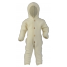 Upon order: Hooded baby wool fleece overall, natural