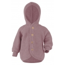 Upon order: Baby hooded jacket with wooden buttons, rosewood