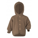 Upon order: Baby hooded jacket with wooden buttons, walnut