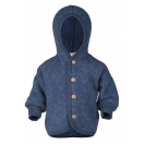 Upon order: Baby hooded jacket with wooden buttons, blue