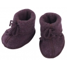 Upon order: Baby bootees with ribbon and flatlock seam, lilac
