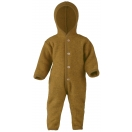 Upon order: Hooded baby wool fleece overall, saffron