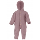Upon order: Hooded baby wool fleece overall, rosewood