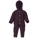 Upon order: Hooded baby wool fleece overall, lilac