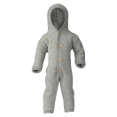 Upon order: Hooded baby wool fleece overall, light grey
