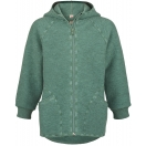 Upon order: Baby boiled wool hooded jacket with zipper, jade