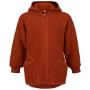 Upon order: Baby boiled wool hooded jacket with zipper, lava