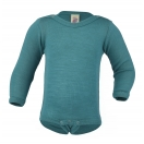 Upon order: Baby wool-silk  long sleeved body with press studs on the shoulders, ice-blue