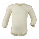 Upon order: Baby wool-silk  long sleeved body with press studs on the side, natural
