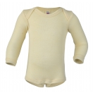 Upon order: Baby wool-silk envelope-neck body long sleeved, natural