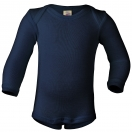 Upon order: Baby wool-silk envelope-neck body long sleeved, navy-blue