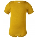 Upon order: Baby wool-silk short sleeved body with press-studs on the shoulders, saffron