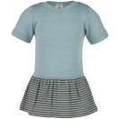 Upon order: Baby wool-silk body short sleeved with ringed skirt, glacier