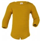 Upon order: Baby wool-silk  long sleeved body with press studs on the shoulders, saffron