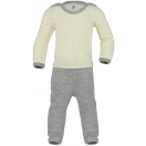 Upon order: Baby wool-silk overall, with cuffs to close at the legs, printed