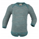 Upon order: Baby wool-silk envelope-neck body long sleeved, light grey-ice blue