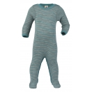 Upon order: Baby wool-silk sleep overall, light grey-ice blue