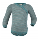 Upon order: Baby wool-silk  long sleeved body with press studs on the side, light grey-ice blue