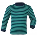 Upon order: Baby wool-silk shirt long sleeved, fine rib, ice-blue