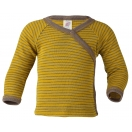 Upon order: Baby wool-silk long sleeved shirt, with press-studs on the side, saffron-walnut