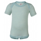 Upon order: Baby wool-silk envelope-neck body short sleeved, glacier-natural