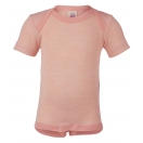 Upon order: Baby wool-silk envelope-neck body short sleeved, salmon-natural