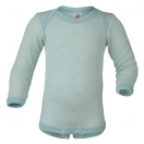 Upon order: Baby wool-silk envelope-neck body long sleeved, glacier-natural