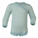 Upon order: Baby wool-silk  long sleeved body with press studs on the side, glacier-natural