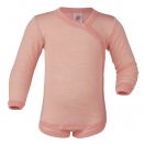 Upon order: Baby wool-silk  long sleeved body with press studs on the side, salmon-natural