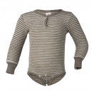 Upon order: Baby wool-silk long sleeved body with press studs in front, walnut-natural