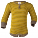 Upon order: Baby wool-silk long sleeved body with press studs in front, saffron-natural