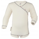 Upon order: Baby cotton long sleeved body with press studs on the side, natural