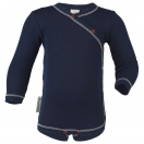 Upon order: Baby cotton long sleeved body with press studs on the side, indigo