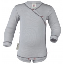 Upon order: Baby cotton long sleeved body with press studs on the side, silver