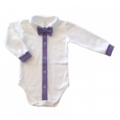 Eco cotton bodysuit: white with light purple trimming and bow tie