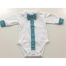 Eco cotton bodysuit: white with turquise blue trimming and bow tie