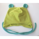 Eco cotton fleece hat, with ears, cotton yersey lining. Green/turquise