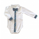 Eco cotton bodysuit: white with colorful Alphabeth fabric trimming and bow tie